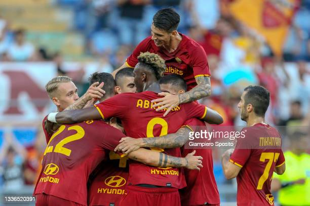 Bryan Cristante of AS Roma celebrates with his teammates after scoring the opening goal during the UEFA Conference League Play-Offs Leg Two match...