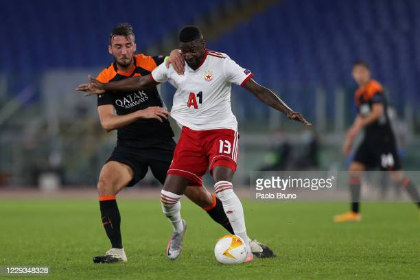 Bryan Cristante of AS Roma competes for the ball with Younousse Sankhare of CSKA-Sofia during the UEFA Europa League Group A stage match between AS...
