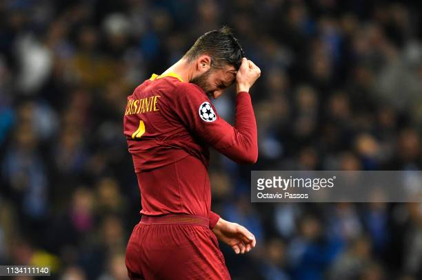 Bryan Cristante of AS Roma reacts following defeat during the UEFA Champions League Round of 16 Second Leg match between FC Porto and AS Roma at...