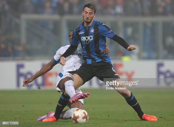 Bryan Cristante of Atalanta BC competes for the ball with Alef dos Santos Saldanha of Apollon Limassol FC during the UEFA Europa League group E match...