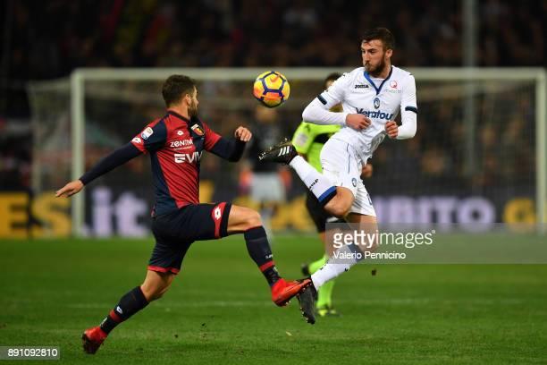 Bryan Cristante of Atalanta BC controls the ball against Miguel Veloso of Genoa CFC during the Serie A match between Genoa CFC and Atalanta BC at...