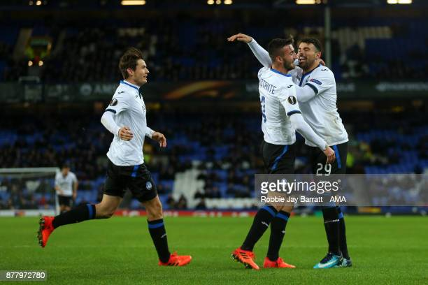 Bryan Cristante of Atalanta celebrates after scoring a goal to make it 02 during the UEFA Europa League group E match between Everton FC and Atalanta...
