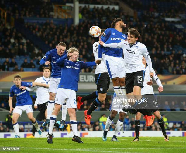 Bryan Cristante of Atalanta scores his sides second goal during the UEFA Europa League group E match between Everton FC and Atalanta at Goodison Park...