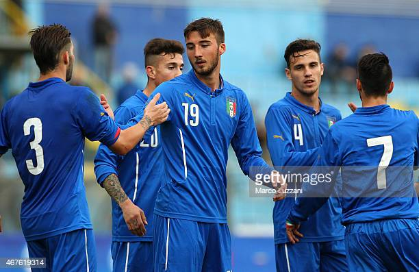 Bryan Cristante of Italy celebrates with his teammates after scoring his goal during the 4 Nations Tournament match between Italy U20 and Switzerland...