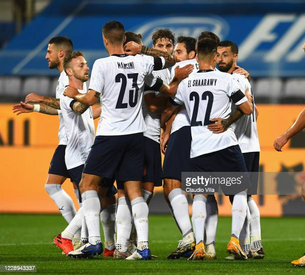 Bryan Cristante of Italy celebrates with team-mates after scoring a goal during the international friendly match between Italy and Moldova at Artemio...