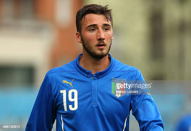 Bryan Cristante of Italy looks on during the 4 Nations Tournament match between Italy U20 and Switzerland U20 at Stadio RigamontiCeppi on March 26...