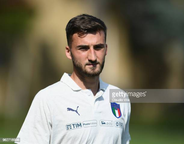 Bryan Cristante of Italy looks on prior to the Italy training session at Centro Tecnico Federale di Coverciano on May 26 2018 in Florence Italy