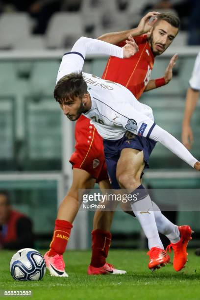 Bryan Cristante of Italy national team and Marjan Radeski of FYR Macedonia national team vie for the ball during the 2018 FIFA World Cup Russia...