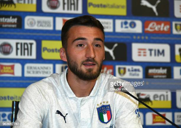 Bryan Cristante of Italy speaks to the media during a press conference at Centro Tecnico Federale di Coverciano on May 30 2018 in Florence Italy