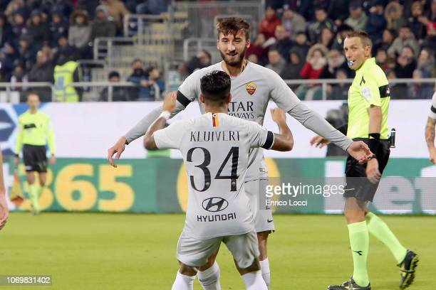 Bryan Cristante of Roma celebrates his goal 01 during the Serie A match between Cagliari and AS Roma at Sardegna Arena on December 9 2018 in Cagliari...