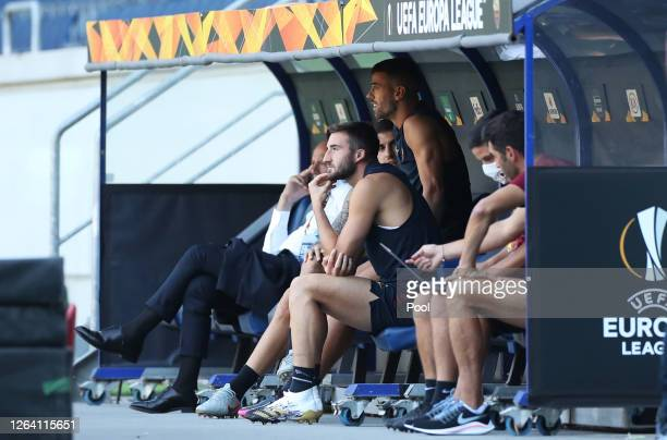 Bryan Cristante sits on the bench during an AS Roma Training Session And Press Conference at MSV Arena on August 05 2020 in Duisburg Germany