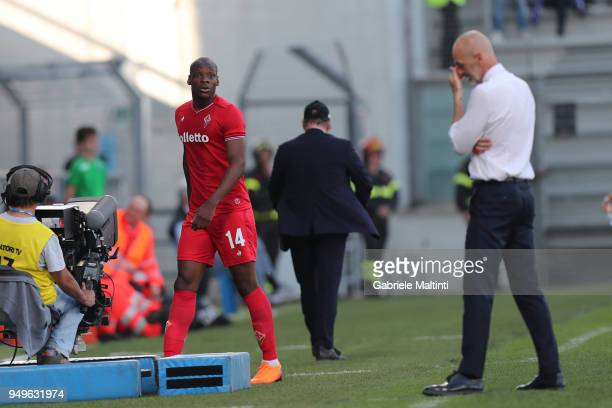 Bryan Dabo of ACF Fiorentina leaves the pitch after being sent off during the serie A match between US Sassuolo and ACF Fiorentina at Mapei Stadium...