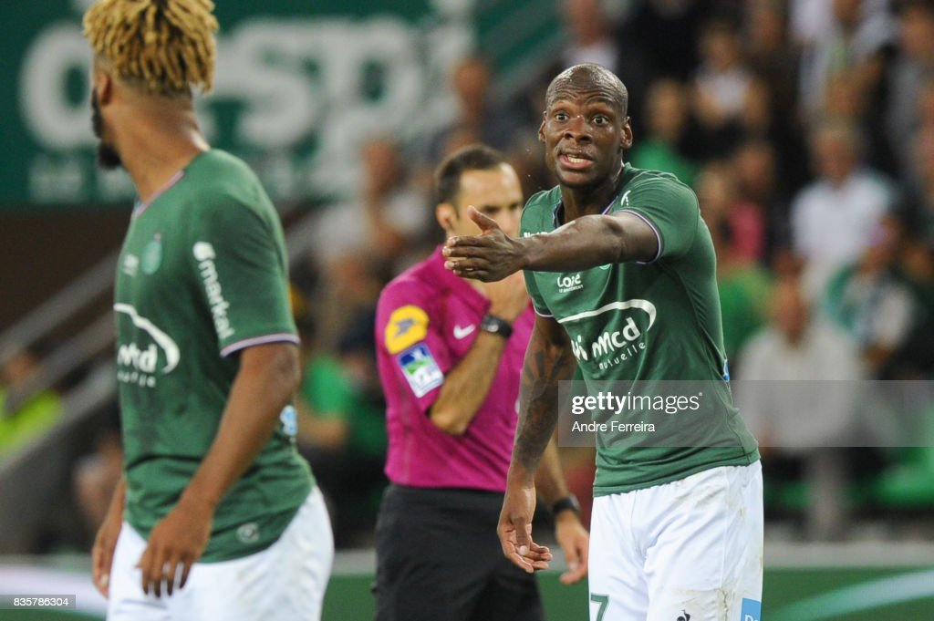 Bryan Dabo of Saint Etienne and Lois Diony of Saint Etienne during the Ligue 1 match between AS Saint Etienne and Amiens SC at Stade Geoffroy Guichard on August 19, 2017 in Saint Etienne, France.