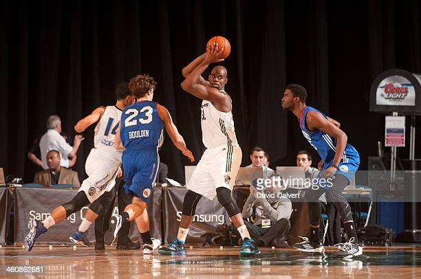 Bryan Davis of the Reno Bighorns controls the ball against the Delaware 87ers during the 2014 NBA DLeague Showcase presented by Samsung Galaxy on...
