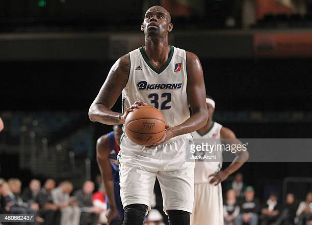 Bryan Davis of the Reno Bighorns shoots a free throw against the Delaware 87ers during the 2014 NBA DLeague Showcase presented by Samsung Galaxy on...