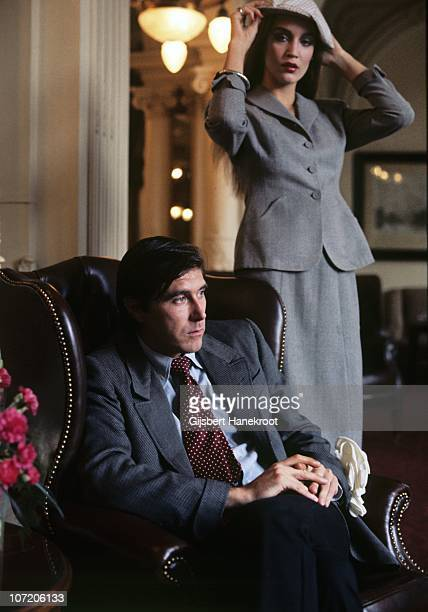 Bryan Ferry and Jerry Hall posed together in the Amstel Hotel in 1976 in Amsterdam Netherlands