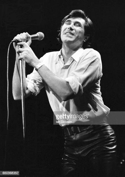 Bryan Ferry of Roxy Music performs on stage at Rainbow Theatre London 5 October 1974