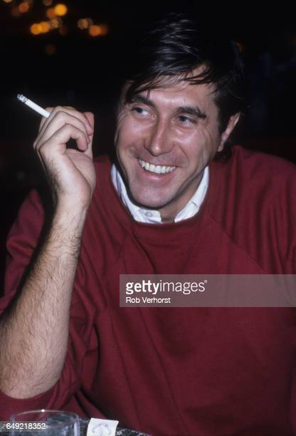 Bryan Ferry of Roxy Music portrait smoking at the Holiday Inn Hotel Utrecht Netherlands 5th December 1980