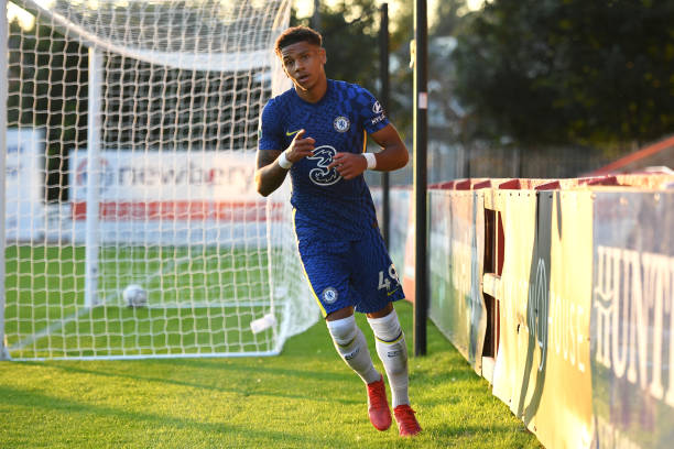 Bryan Fiabema of Chelsea celebrates scoring during the Exeter City v Chelsea U21 Leasing.Com Trophy match at St James Park on August 24, 2021 in...