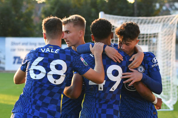 Bryan Fiabema of Chelsea celebrates scoring with his team mates during the Exeter City v Chelsea U21 Leasing.Com Trophy match at St James Park on...