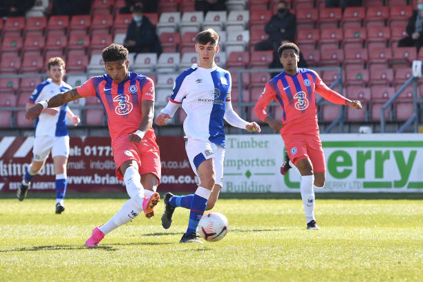 Bryan Fiabema of Chelsea scores the third during the Blackburn Rovers v Chelsea Premier League 2 match at Leyland County Ground on May 7, 2021 in...