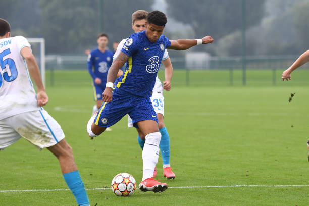 Bryan Fiabema of Chelsea shoots for goal during the Chelsea v Zenit St Petersburg UEFA Youth League match on September 14th, 2021 in Cobham, England.