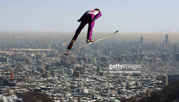 Bryan Fletcher of the U.S. Soars trough the air in the Jumping of the Nordic Combined Team Event during the FIS Nordic World Ski Championships 2007...