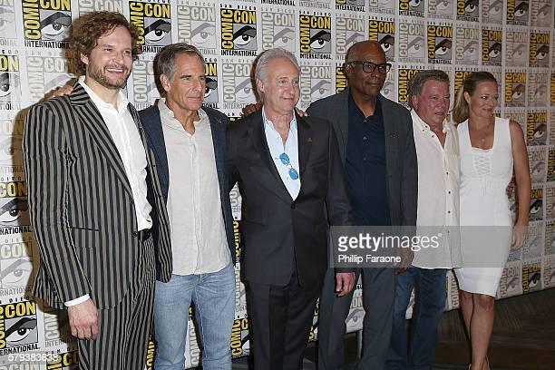 Bryan Fuller Scott Bakula Brent Spiner Michael Dorn William Shatner and Jeri Ryan attends the 'Star Trek 50' press line during ComicCon International...