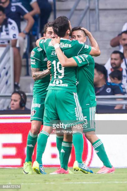 Bryan Garnica of Atlas celebrates with teammates after scoring his team's first goal during the 9th round match between Monterrey and Atlas as part...