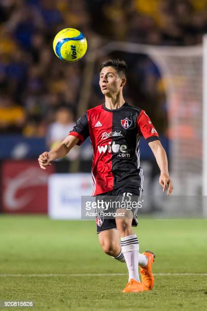 Bryan Garnica of Atlas controls the ball during the 8th round match between Tigres UANL and Atlas as part of the Torneo Clausura 2018 Liga MX at...