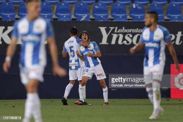 Bryan Gil of Leganes celebrates his team's first goal with teammate Jonathan Silva during the Liga match between CD Leganes and Real Madrid CF at...