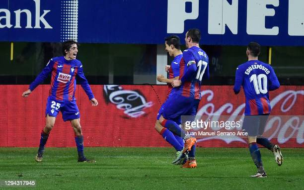 Bryan Gil of SD Eibar celebrates with team mates after scoring their sides second goal during the La Liga Santander match between SD Eibar and...