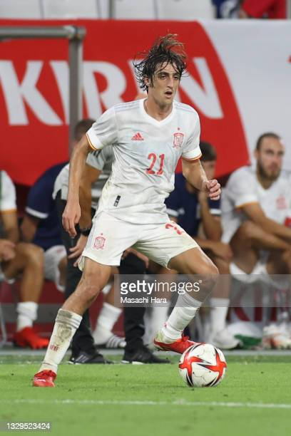 Bryan Gil of Spain in action during the U-24 international friendly match between Japan and Spain at the Noevir Stadium Kobe on July 17, 2021 in...
