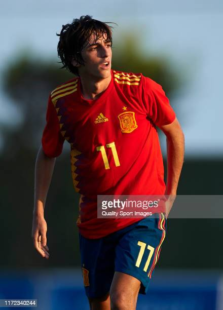 Bryan Gil of Spain looks on during the international friendly match between U19 Spain and U19 Germany at Pinatar Arena on September 04, 2019 in San...