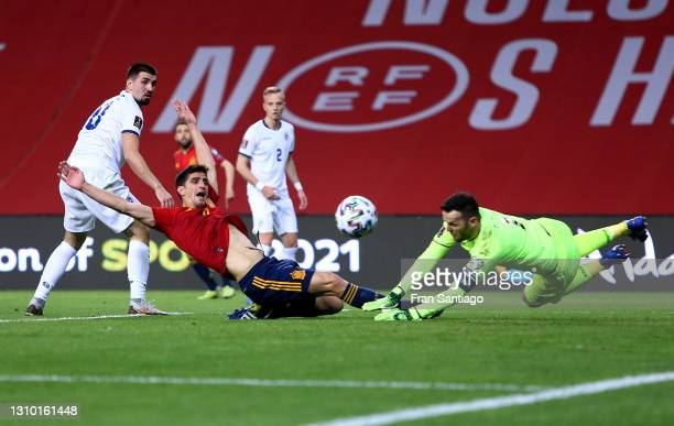Bryan Gil of Spain reacts as Samir Ujkani of Kosovo makes a save during the FIFA World Cup 2022 Qatar qualifying match between Spain and Kosovo at...