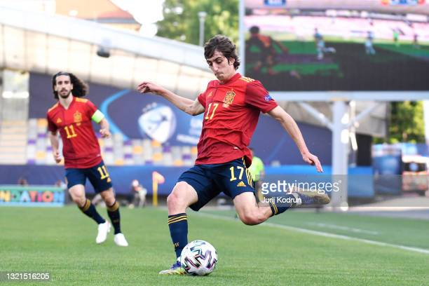 Bryan Gil of Spain strikes the ball during the 2021 UEFA European Under-21 Championship Semi-finals match between Spain and Portugal at Stadion...