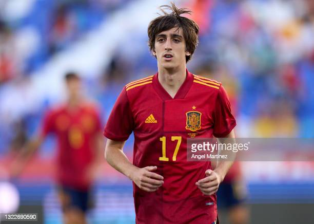 Bryan Gil of Spain U21 looks on during the international friendly match between Spain U21 and Lithuania at Estadio Municipal de Butarque on June 08,...