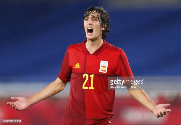 Bryan Gil of Team Spain reacts during the Men's Gold Medal Match between Brazil and Spain on day fifteen of the Tokyo 2020 Olympic Games at...