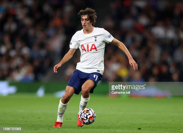 Bryan Gil of Tottenham Hotspur during the UEFA Conference League Play-Offs Leg Two match between Tottenham Hotspur and Pacos de Ferreira at on August...