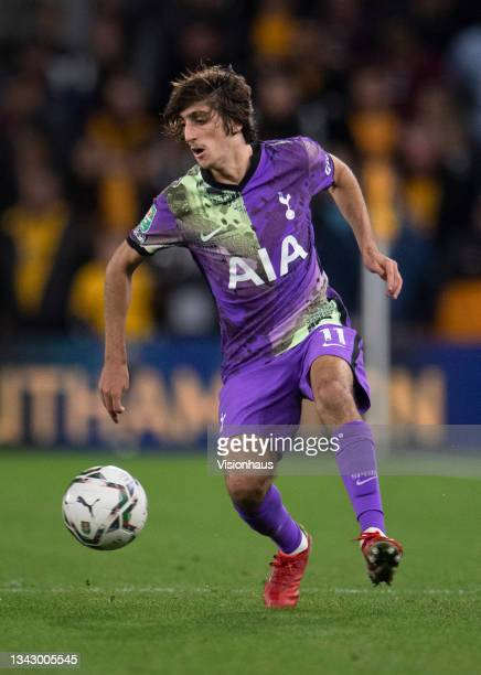 Bryan Gil of Tottenham Hotspur in action during the Carabao Cup Third Round match between Wolverhampton Wanderers and Tottenham Hotspur at Molineux...