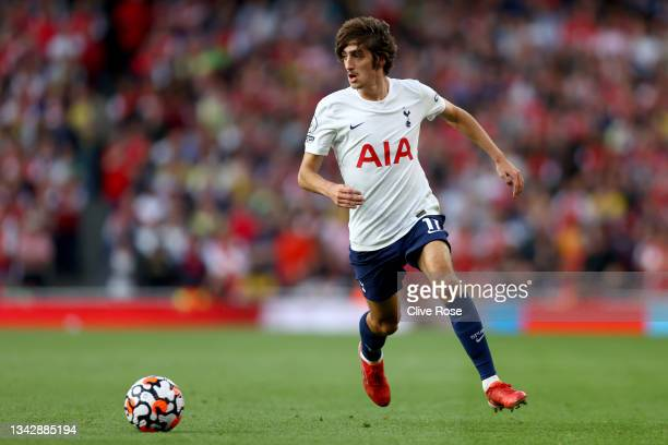 Bryan Gil of Tottenham Hotspur in action during the Premier League match between Arsenal and Tottenham Hotspur at Emirates Stadium on September 26,...