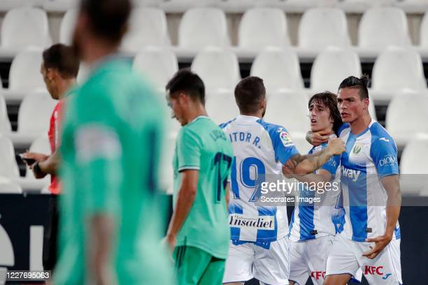 Bryan Gil Salvatierra of Leganes celebrates 11 with Aitor Ruibal of Leganes during the La Liga Santander match between Leganes v Real Madrid at the...