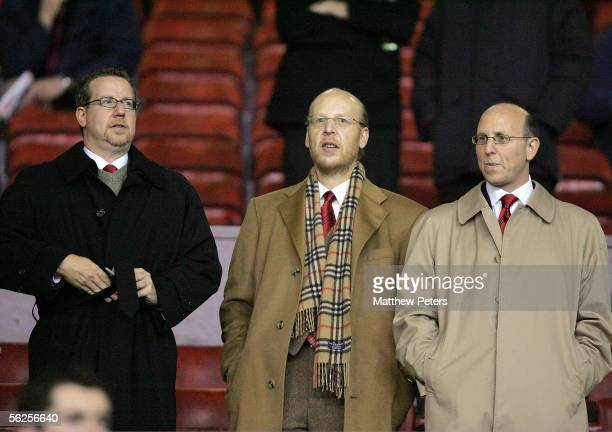 Bryan Glazer, Avram Glazer and Joel Glazer watch from the stand during the UEFA Champions League match between Manchester United and Villarreal at...