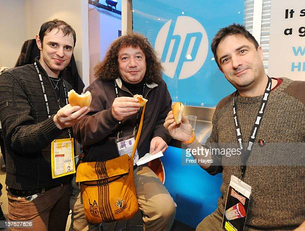 Bryan Glick Jeffrey Winter and Stephen Israel attend the HP's Ro*Co Film Event held at HP Headquarters At Sundance on January 21 2012 in Park City...