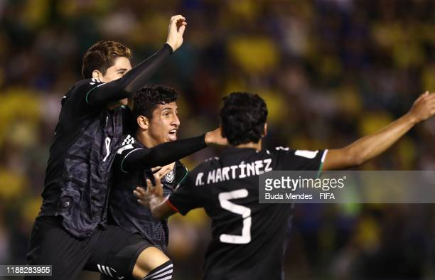 Bryan Gonzalez of Mexico celebrates after scoring his sides first goal during the Final of the FIFA U17 World Cup Brazil 2019 between Mexico and...