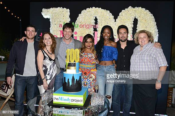 Bryan Greenberg Beth Grant Ike Barinholtz Mindy Kaling Xosha Roquemore Ed Weeks and Fortune Feimster attend the 100th Episode Celebration of Hulu's...