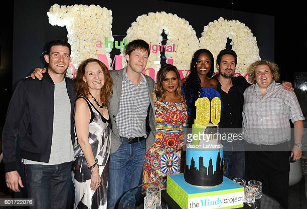 Bryan Greenberg Beth Grant Ike Barinholtz Mindy Kaling Xosha Roquemore Ed Weeks and Fortune Feimster attend the 100th episode celebration of 'The...