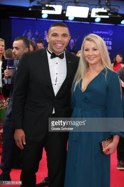 Bryan Habana and his wife Janine Viljoen during the Laureus World Sports Awards 2019 at Monte Carlo Sporting Club on February 18 2019 in Monte Carlo...