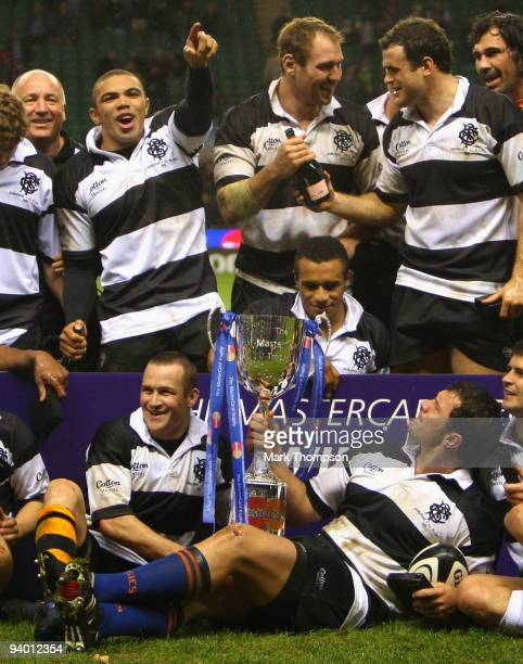 Bryan Habana celebrates his three try's while celebrate victory over the All Blacks during the MasterCard trophy match between Barbarians and New...