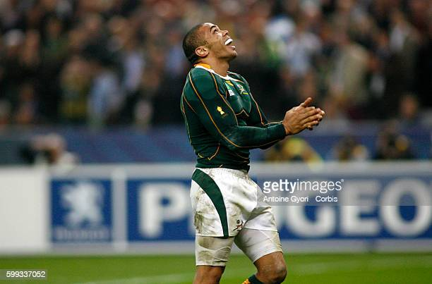 Bryan Habana celebrates scoring a try during the IRB World Cup rugby semi final between South Africa and Argentina.   Location: Saint Denis, France.